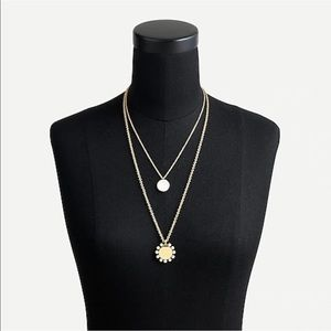 J. Crew Layered Pearl Coin Necklace AS569 Gold NWT